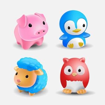 여러 귀여운 목욕 동물 장난감 세트입니다. 욕실용 장난감. 귀여운 양고기, 미니피그, 올빼미, 펭귄의 컬렉션입니다. 벡터 일러스트 레이 션.