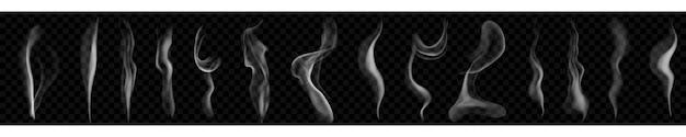어두운 배경에서 사용하기 위해 흰색 및 회색 색상의 몇 가지 사실적인 투명한 연기 또는 증기 세트. 벡터 형식의 투명도