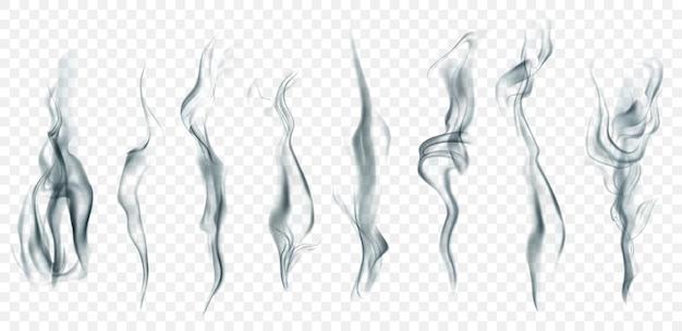 明るい背景で使用するための、白と灰色のリアルな透明な煙または蒸気のセット