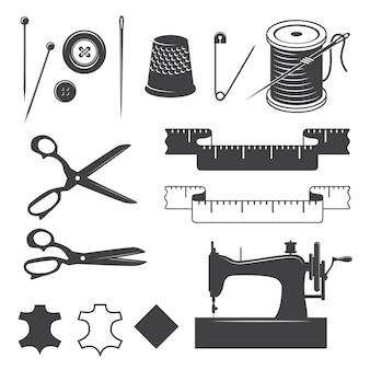 Набор швейных элементов дизайна монохромный стиль