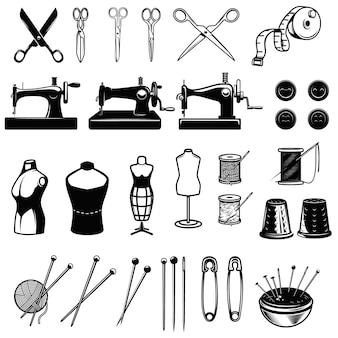 縫製要素のセットです。機械、はさみ、針を縫います。ロゴ、ラベル、エンブレム、記号のデザイン要素です。画像