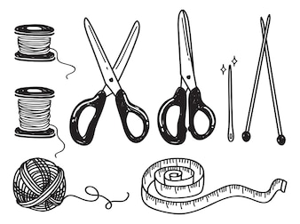 Set of sewing kit doodle