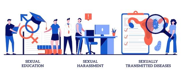 Набор полового воспитания, сексуальных домогательств и заболеваний, передающихся половым путем Premium векторы