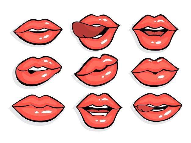セクシーな赤いポップアートの唇のセットです。ビンテージコミックスタイルの赤い口紅が付いた口。舌で女の子の唇のコレクション。図