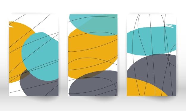 形のセット。抽象的な手描き。落書きの形をした現代アート。