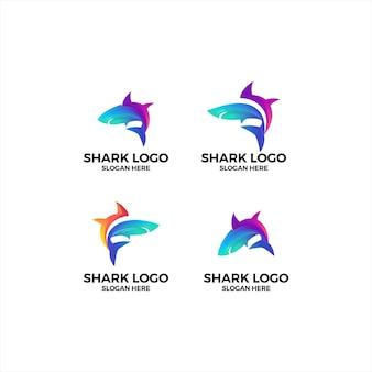 Набор в стиле красочных рыб акула