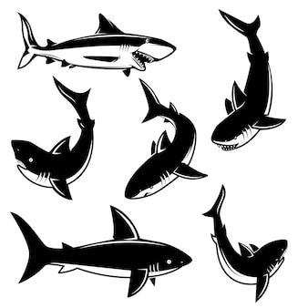 サメのイラストのセットです。ポスター、印刷、エンブレム、記号の要素。図