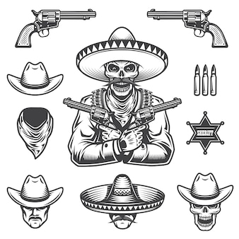保安官と盗賊の要素と頭のセット。モノクロスタイル