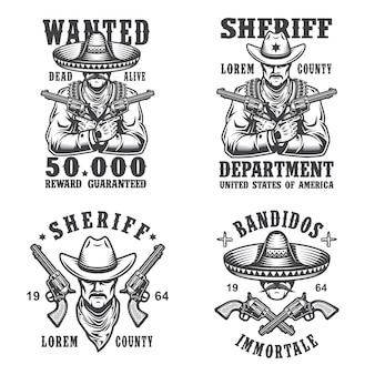 Набор шерифов и бандитов эмблем, этикеток, значков, логотипов и талисманов. монохромный стиль.