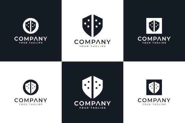 すべての用途のための盾の建物のロゴの創造的なデザインのセット