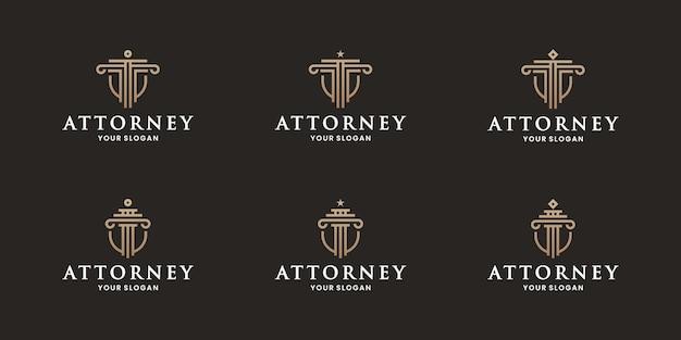 Набор щита адвоката, комбинация щита дизайна логотипа адвоката с колонной