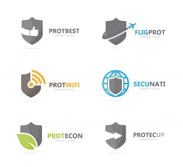 シールドロゴの組み合わせのセット。ロゴタイプのデザインテンプレートのセキュリティと保護。