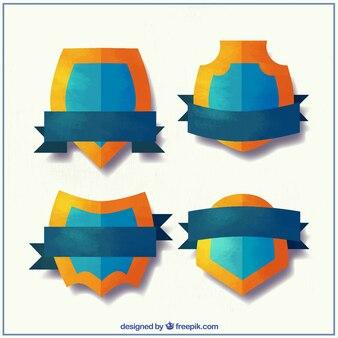 オレンジ色のエッジを持つ盾のセット