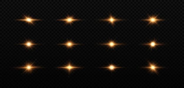 빛나는 황금 별 세트 조명 효과 밝은 별 크리스마스 스타