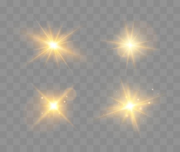 透明な背景ベクトル病気で分離された輝く輝きとレンズフレアの光るライトのセット...