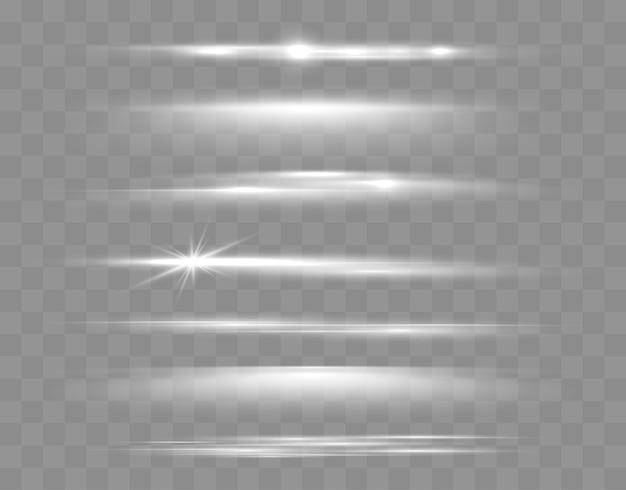 Набор сияющих блесток и линз, бликов, светящихся огней, изолированных на прозрачном фоне вектор плохо ...