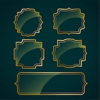 光沢のある光沢のあるビンテージフレームラベルデザインのセット