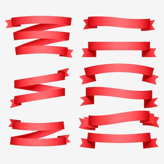Набор блестящих красных лент