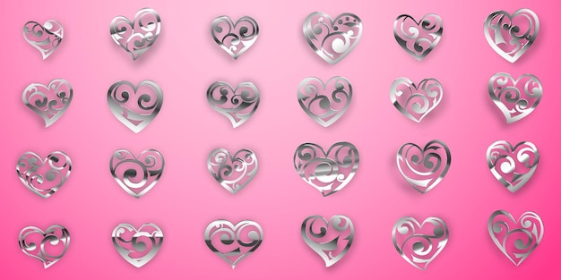 ピンクの背景にカール、グレア、影と光沢のあるシルバーハートシンボルのセット