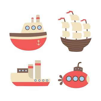 Множество кораблей, пароходы, подводная лодка.