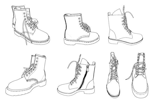 靴ひもの線形スケッチ落書きと靴のセット