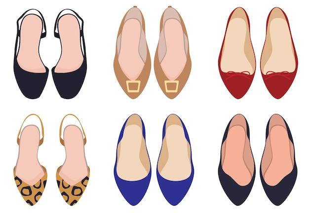신발 세트. 여성 신발, 평면도. 레오파드 신발. 버클로.