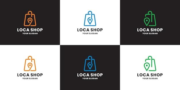 Набор дизайна логотипа местоположения магазина современного интернет-магазина. сумка в сочетании с картами контактов