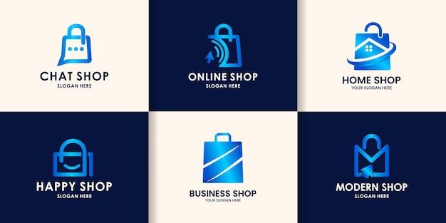 ショッピングバッグのロゴデザインのセット。オンラインショップのショッピングバッグアイコン