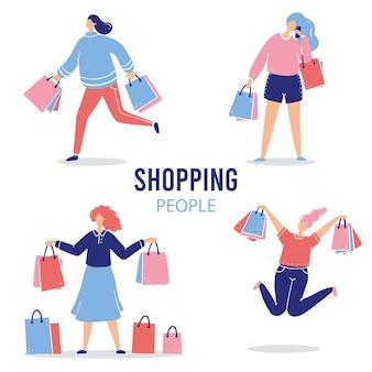 Набор покупок мультфильм женщина для продажи, скидки, покупатель, концепция клиента. женский персонаж с пакетом покупок.