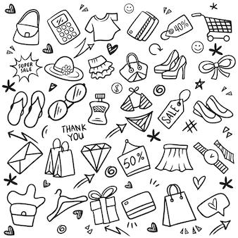 ショッピング落書きスケッチ、手描きのショッピングのセット