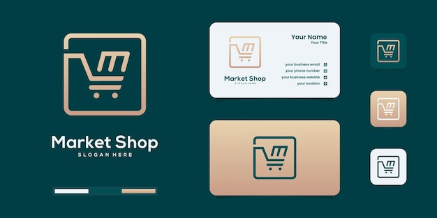 Набор покупок логотип шаблон вектор дизайн
