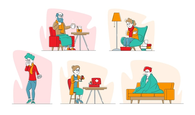 熱のイラストを持っているインフルエンザを捕まえた病気のキャラクターのセット