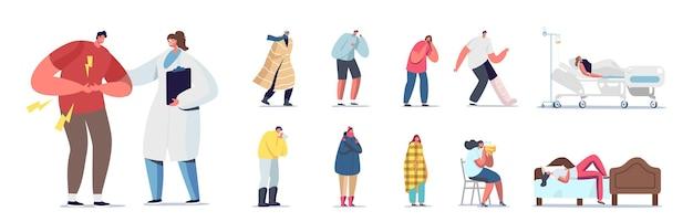 Набор больных людей. больные персонажи мужского и женского пола чувствуют боль, недомогание или недомогание. врач и пациенты в отделении больницы или клинике, изолированные на белом фоне. векторные иллюстрации шаржа