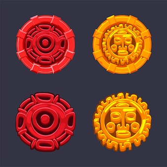 표지판 기호 아즈텍 마야 문화의 집합입니다. 격리 된 아이콘 태양과 인간의 얼굴 마야 문명.