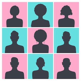 Набор изображений профиля аватара силуэта, изолированных на синем и розовом квадрате.