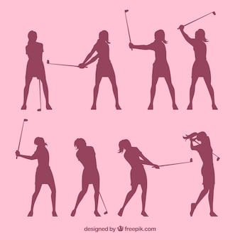 ゴルフの女性のシルエットのセット