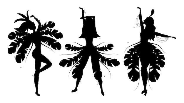 Набор силуэтов бразильских танцоров самбы