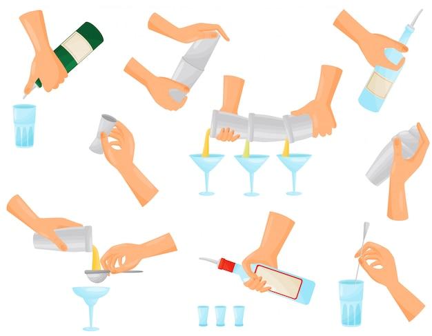 Набор силуэтов рук бармена готовит коктейли. иллюстрации.