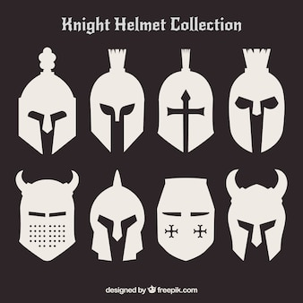 Set of silhouettes of helmets