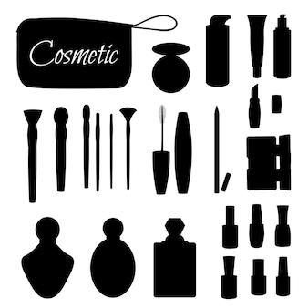 白い背景の上の美容院、美容店のアイテムのシルエットのセットです。ベクトルイラスト。漫画のスタイル。