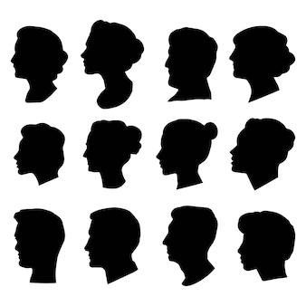 Набор силуэтов голов народов. векторные силуэты мужчин и женщин, изображенные в профиль.