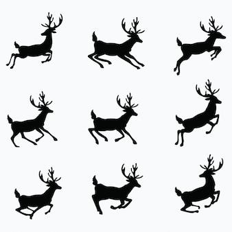 Набор силуэтов бегущих оленей. коллекция рождественских оленей. иллюстрации.