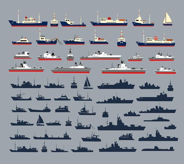 多数の軍艦、海軍艦艇、ヨット、クルーズ船、船、クルーズ用の遊覧船で構成される船のシルエットのセット。