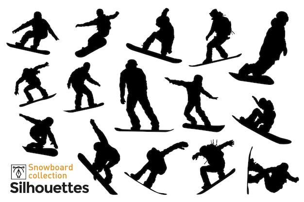 Набор силуэтов сноубордистов. силуэты людей, занимающихся зимними видами спорта.