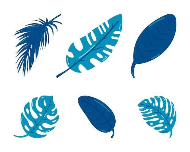 白で隔離される熱帯の葉のシルエットのセット