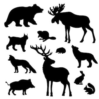 野生の森の動物のシルエットのセット