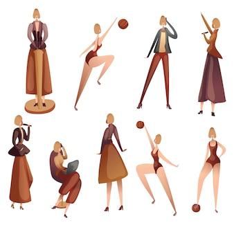 Набор силуэтов женщин разных профессий. иллюстрация на белом фоне.