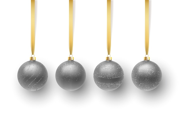 Набор серебряный елочный шар, с орнаментом и блестками. изолированные на белом фоне.
