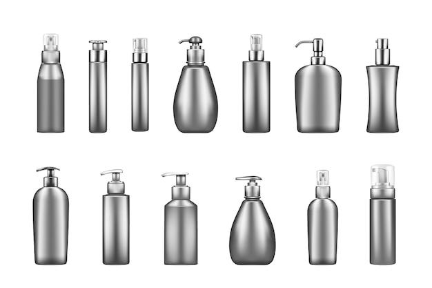 Набор мокапов роскошных серебряных бутылочек с помпой: сыворотка, увлажняющий крем, лосьон, крем, дезинфицирующее средство
