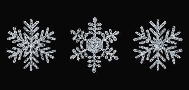 銀の雪片のセット。クリスマスイラスト